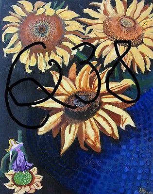"C394        Original Acrylic Painting By Ljh    ""Purple Haze''      Still Life 11"