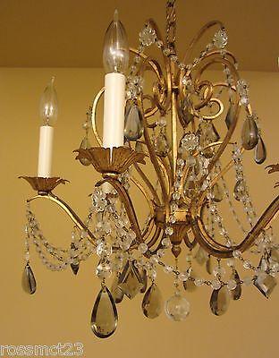 Vintage Lighting antique 1960s Lightolier crystal chandelier   Stunning 4