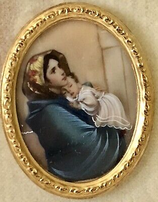Vtg Italian Leather Case Miniature Hand Painted Holy Religious Madonna Celluloid 2