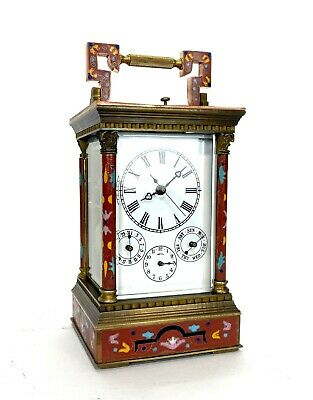 French Style Floral Red Enamel Brass 8 Day Repeater Calendar Carriage Clock 2