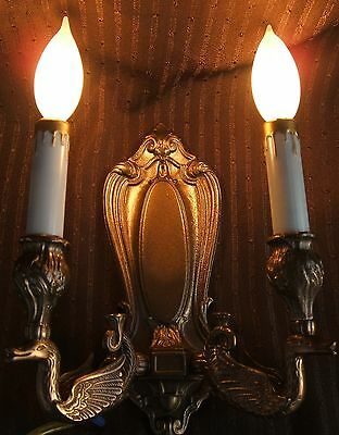 **** Antique Bronze Swan Wall Lamp Sconce 2 Light Fixture ***** 2