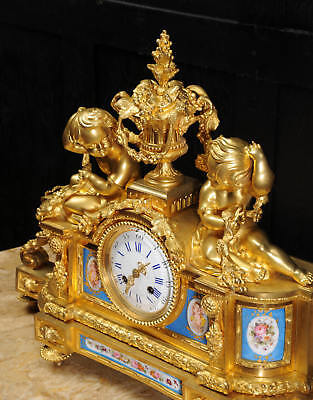 Large Antique French Ormolu And Sevres Porcelain Clock Cherubs Stunning 1850 10