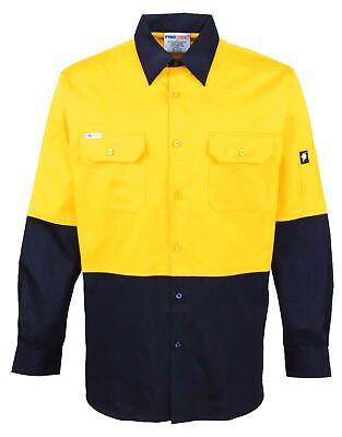 5 x Hi Vis Work Shirt vented cotton drill long sleeve SAFETY WORKWEAR UNIFORM 6
