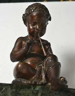 Antique 19th century French Figural Bronze & Marble Clock : Putto with Pipes 7