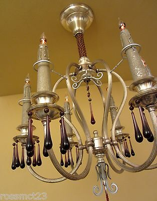 Vintage Lighting matched pair extraordinary 1920s silver chandeliers 2