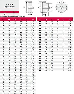Stirnzahnrad Stahl C45 Modul 2.0 - 62 Zähne  1 Stück - Qualität 8-9