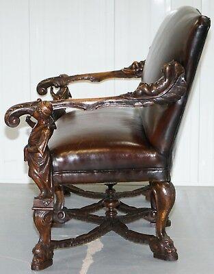 1850 Palatial Venetian Carved Walnut Leather Bench Valentino Panciera Besarel 11