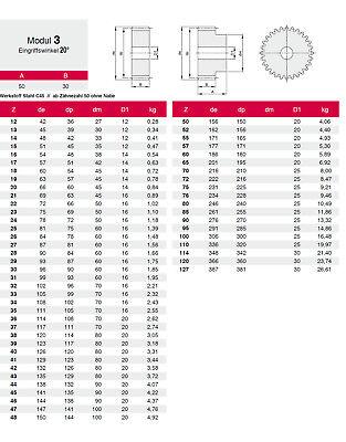 Stirnzahnrad Stahl C45 Modul 3.0 - 50-127 Zähne 1 Stück  Qualität 8-9