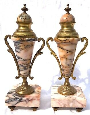 French Antique Pink Orange Rouge Marble Bracket / Mantel Clock Garniture Set 8