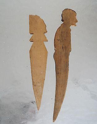 Two.Folk Art Wooden Carved Letter Openers Woman and Indian Chief' 6