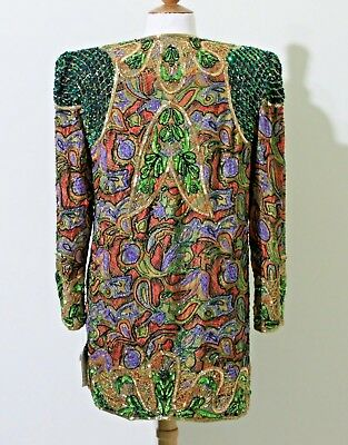 "Jasdee Vintage Jacket 32""Length HandWork Bead & Sequins HandPrint On Silk #5008L 2"