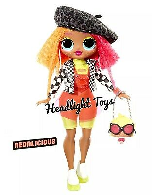 "1 LOL Surprise OMG NEONLICIOUS 10"" Fashion Doll Neon QT Holiday Winter Disco 10"