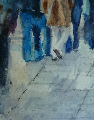 ACEO Original collectible art card Watercolor Painting San Francisco pedestrians 4