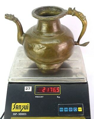 Antique Handcrafted Old Indian Rare Mughal Brass Pot/Vessel With Spout. G3-50 US 10