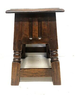 Antique Carved Oak Joint Stool Slipper Box / Occasional Table / Lamp Stand 10