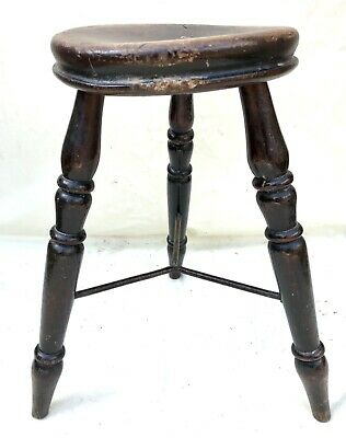 Antique Victorian Ash and Elm Farmhouse Kitchen Stool / Milking Stool : 3 Legs 4