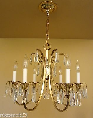 Vintage Lighting distinctive Mid Century crystal chandelier 2