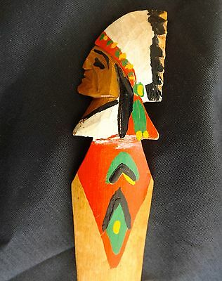 Two.Folk Art Wooden Carved Letter Openers Woman and Indian Chief' 2