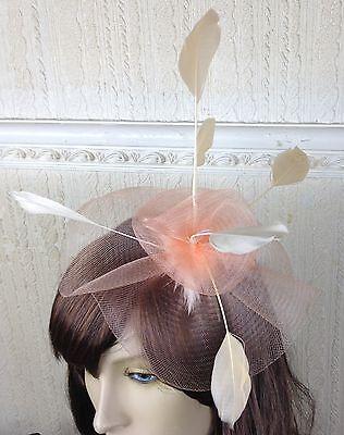nude peach coral feather hair headband fascinator millinery wedding ascot 3