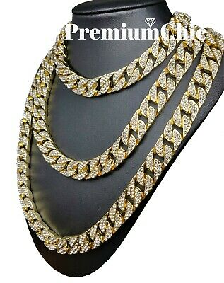 """ICED Miami Cuban Choker Chain Necklace Hip Hop Mens Gold Silver 14mm 16"""" - 30"""" 2"""