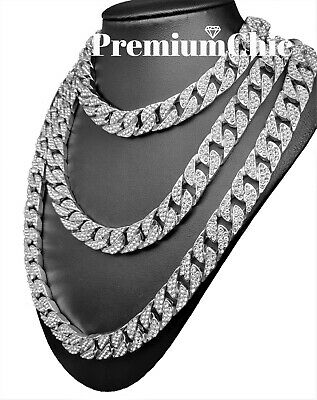 """ICED Miami Cuban Choker Chain Necklace Hip Hop Mens Gold Silver 14mm 16"""" - 30"""" 7"""