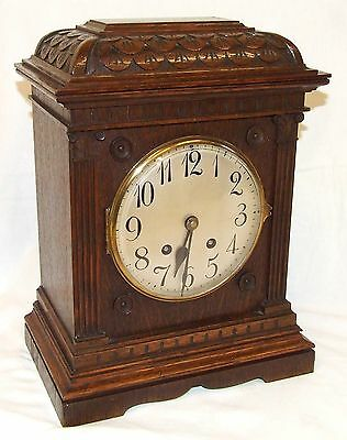 Antique LENZKIRCH Carved Oak Bracket Clock : CLEANED AND SERVICED 3