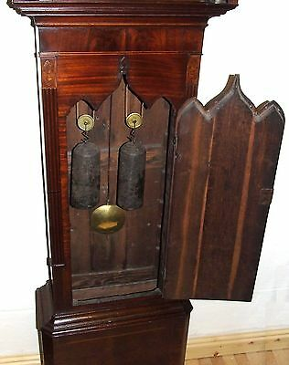 Antique Inlaid Mahogany Moon Phase Longcase Grandfather Clock FURNIVAL OLDHAM 9