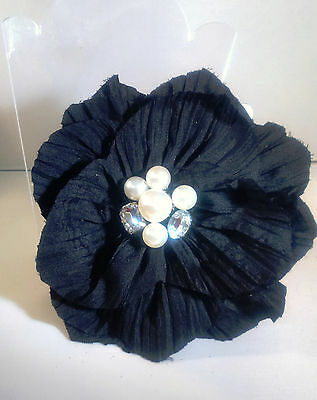 Black Crinkle Fabric Flower Fascinator Hair Clip Corsage with Jewelled Centre 3
