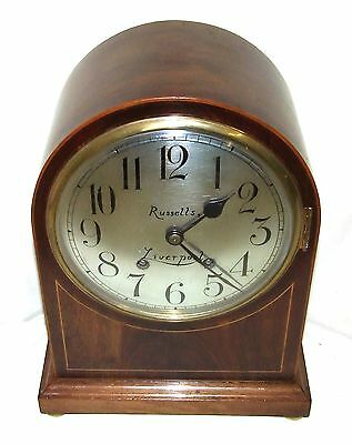 W & H Winterhald Antique Inlaid Mahogany Bracket Mantel Clock RUSSELLS LIVERPOOL 3