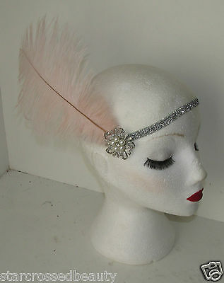 Pink Silver Ostrich Feather Flapper Headpiece 1920s Vintage Headband Pearl k66 6