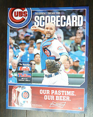 July 25 2015 Cubs Unused Score Card Wrigley Cole Hamels Phillies No Hitter No No 9