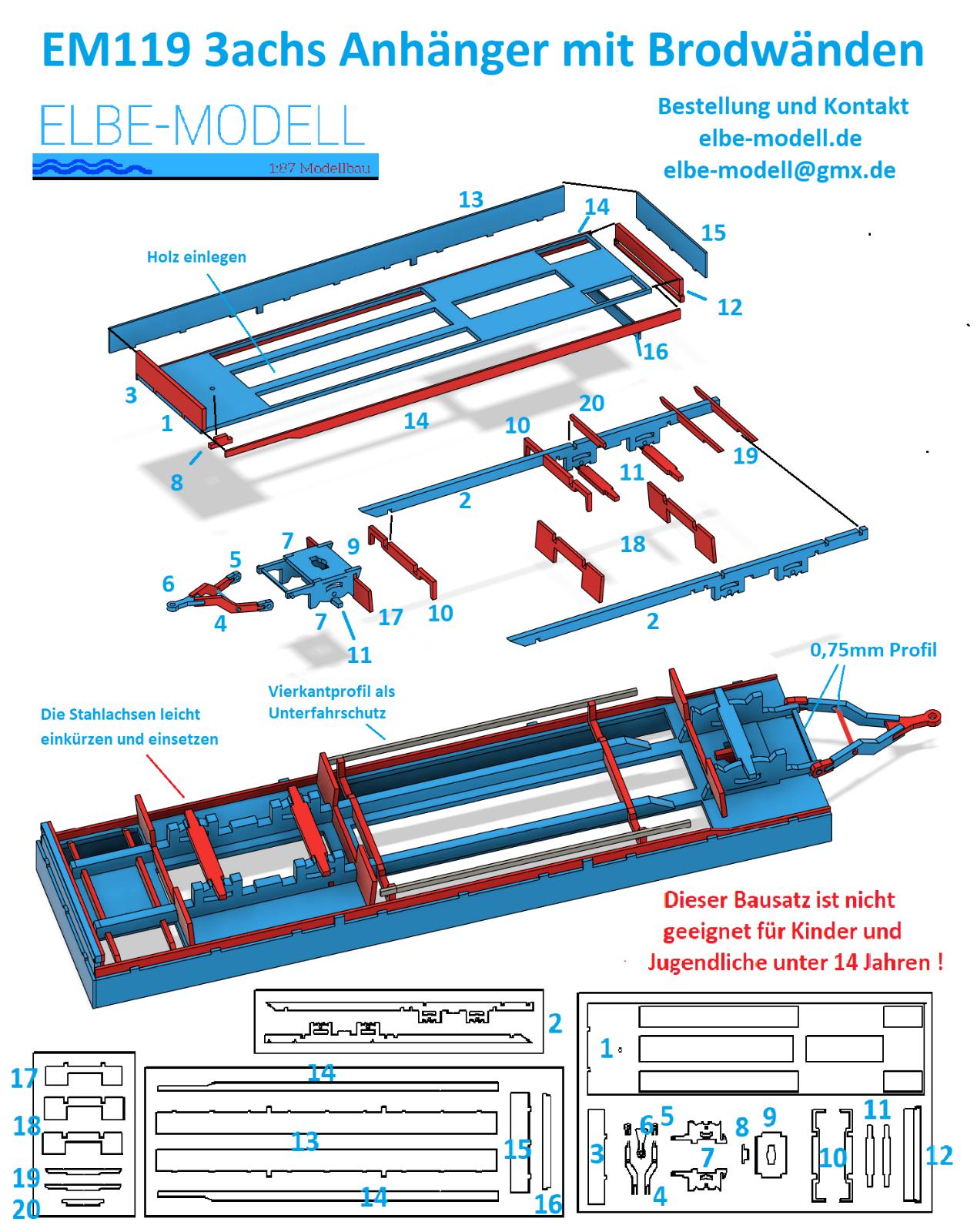 1:87 EM119 3achs Anhänger mit Bordwänden flach für Herpa Umbau Eigenbau 3