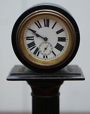 19Th Century Mantle Clock With Pedestal Column Base Hand Painted Porcelain Dial 3
