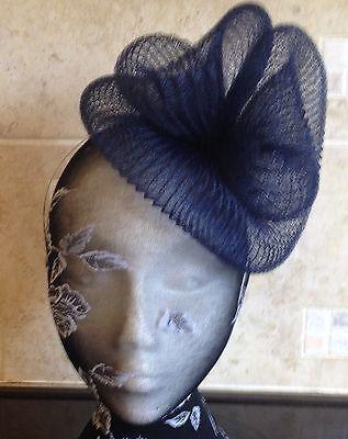 Navy dark blue fascinator millinery burlesque wedding hat hair ascot race 2