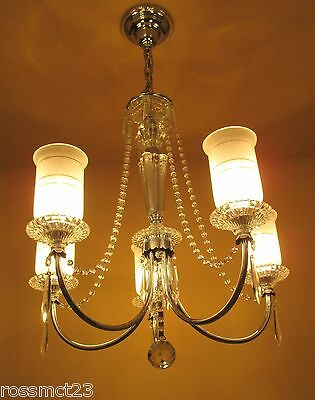 Vintage Lighting all original 1940s crystal chandelier 8