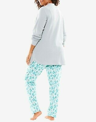 Dreams & Co. Plus Size Orchid Bloom Llamas Thermal Pajama Set Size 2X(26/28) 12