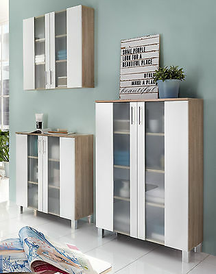 badschrank badezimmer kommode bad m bel schrank wei eiche s gerau glas porto eur 147 99. Black Bedroom Furniture Sets. Home Design Ideas