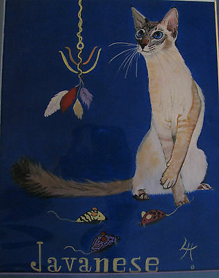 "C305   Original Acrylic Painting By Ljh  ""Bosco""  Cat Kitten 5"