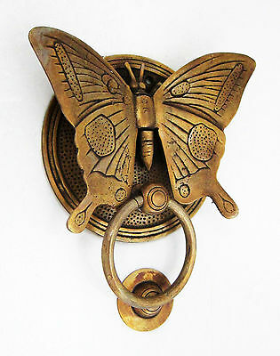 Solid Brass heavy BUTTERFLY Door Knocker 15 cm high, 12 cm wide bolt pull B 3