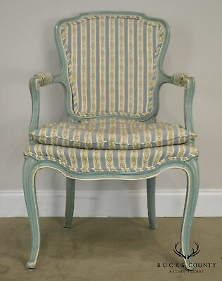 French Louis XV Style Vintage 1960's Custom Painted Pair Armchairs 11