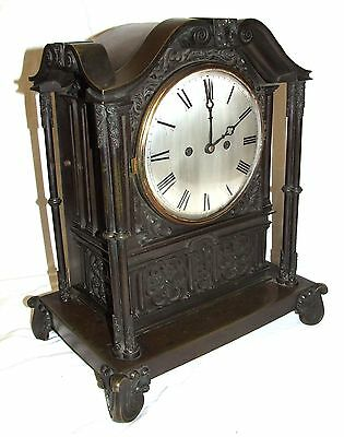 Antique Gothic BRONZE Twin Double Fusee Bracket Mantel Clock CLEANED & SERVICED 2
