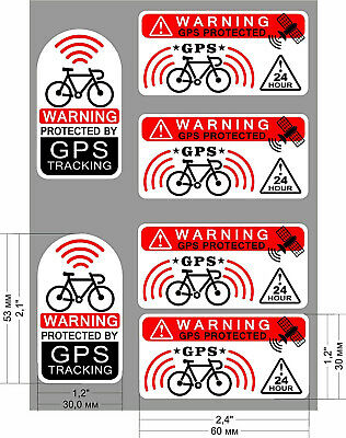 6 X GPS Protected Tracking Warning Sticker  Bike Theft Prevention Transparent