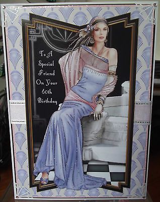 Handmade Art Deco Personalised 60th Birthday Card With A Classic Lady In Lilac 2