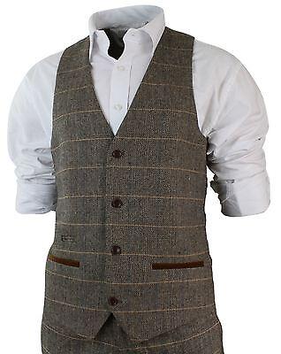 ... Costume 3 pièces homme tweed à chevrons marron clair tan coupe cintrée  vintage 3 f609030d590