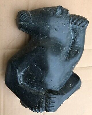 Old Inuit Carving Of Bear Soapstone 2