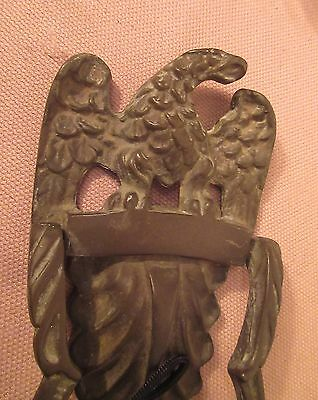 very large antique ornate solid thick bronze bald eagle front door knocker brass