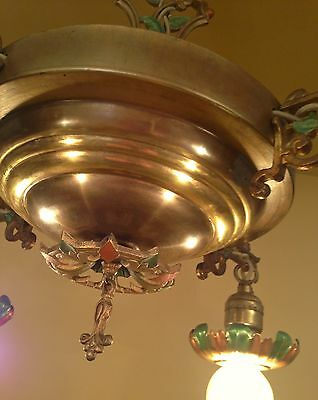 Vintage Lighting 1930 brass pan chandelier with lovely details 5