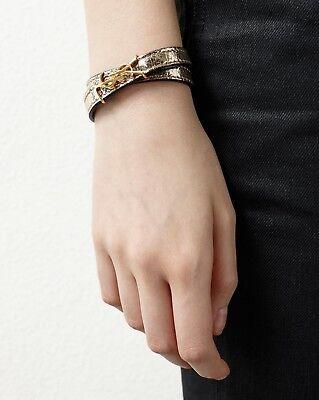 New Authentic SAINT LAURENT Gold YSL Monogram DOUBLE,WRAP Leather  Bracelet M 2