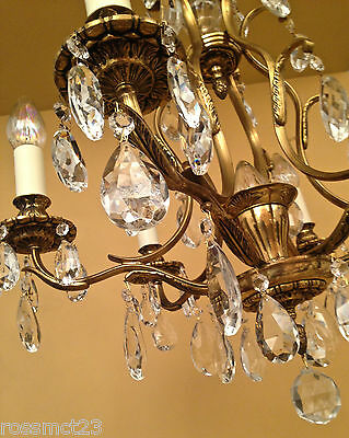 Vintage Lighting matched pair 1960s Hollywood Regency crystal chandeliers 3