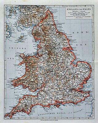 1900 Meyers Map England Wales London Liverpool Oxford Newcastle Great Britain 2